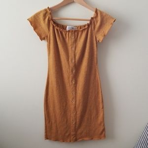 Seek The Label Caramel Off The Shoulder Mini Dress